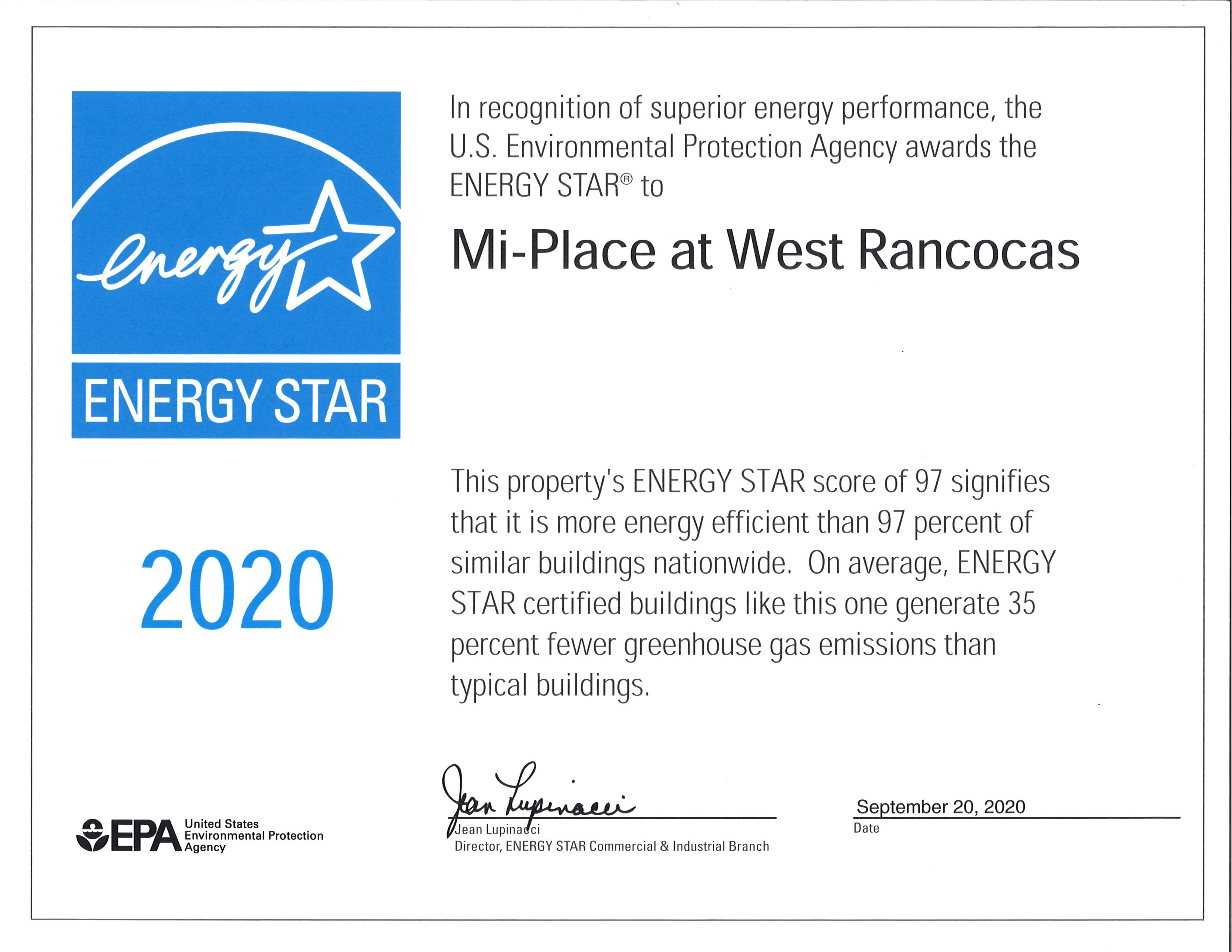 Mi-Place at West Rancocas Receives Energy Star Certificate!